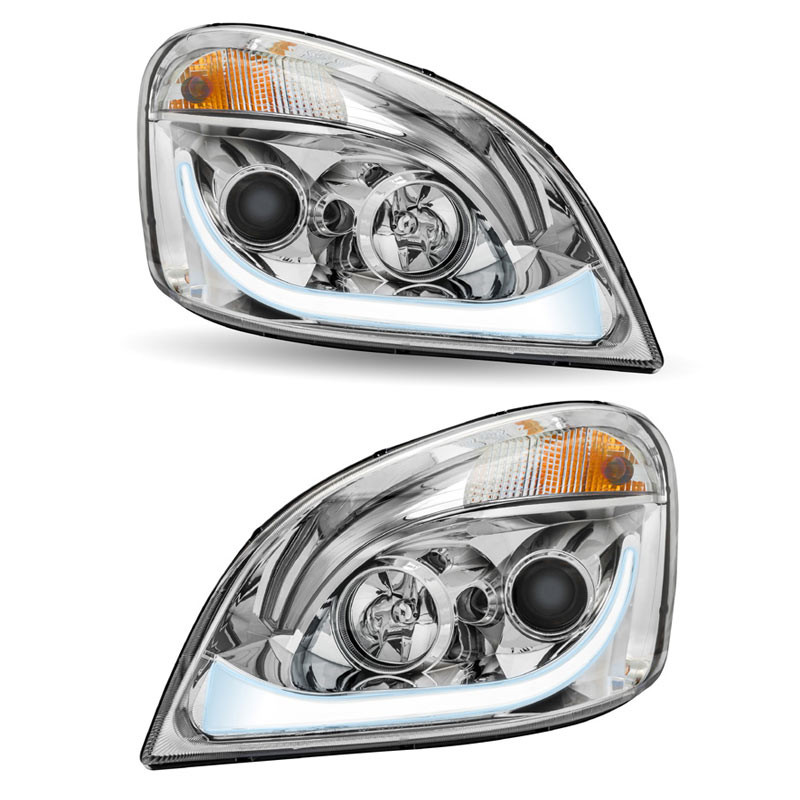 Chrome Projector Headlight With LED Dual Function Turn Signal Both White