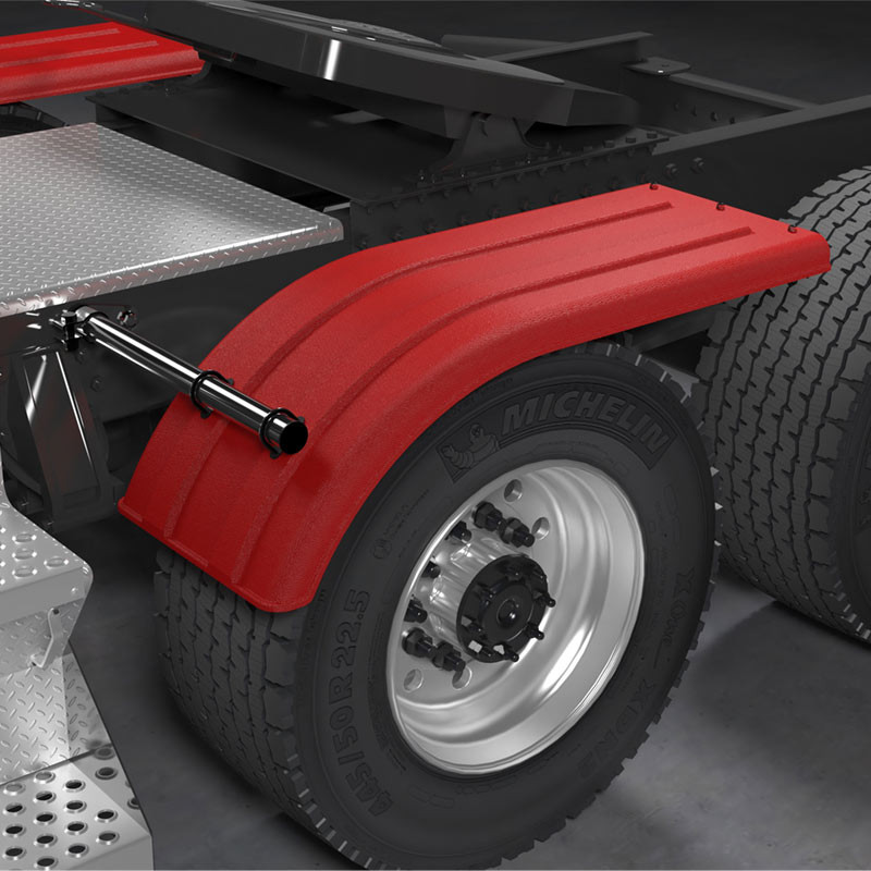 Minimizer 4070 Series Red Poly Super Single Truck Half Fenders