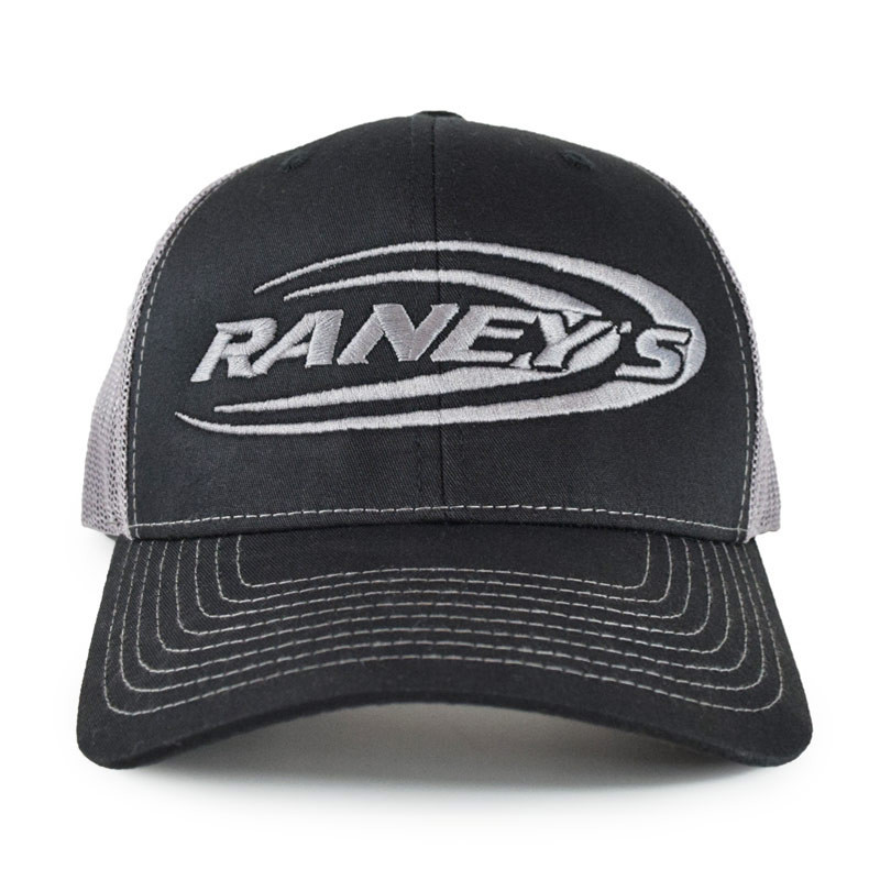 Raney's Charcoal & Silver Snapback Hat Front