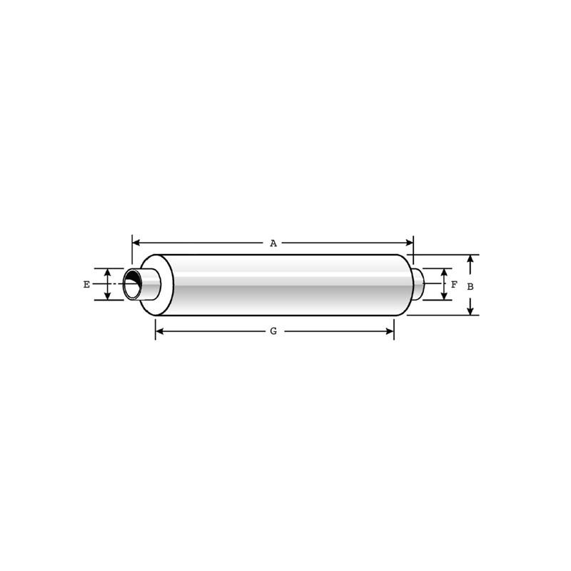 """8.5"""" Muffler MAK2ME336B Dimensions"""