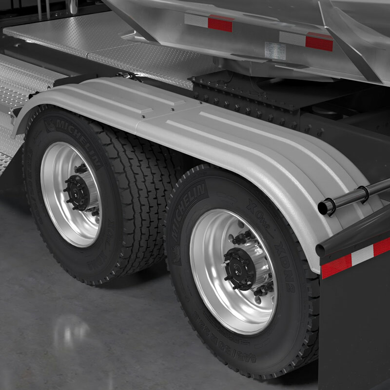 Minimizer 4020 Series Poly Super Single Truck Tandem Fenders Galvanized Grey On Truck