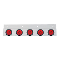 """Stainless Top Mud Flap Light Brackets With LED """"GLO"""" Lights (Rubber Grommets) (Off)"""
