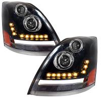 Volvo VNL Full LED Projector Headlight Pair With DRL Lightbar