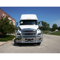 Freightliner Cascadia Ali Arc Curved Front Bumper Grill Guard White Truck