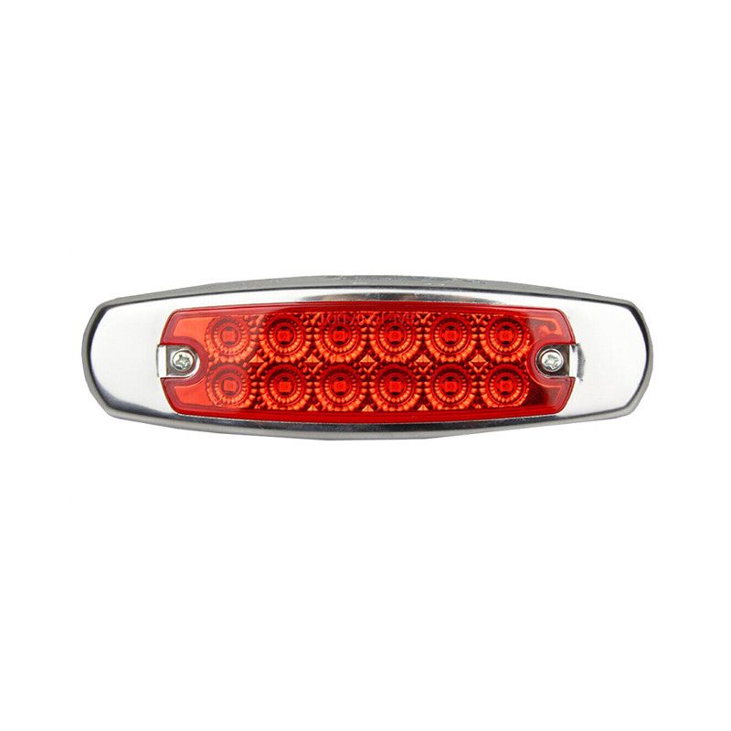12 LED Marker Red Light W/SS Flange Red
