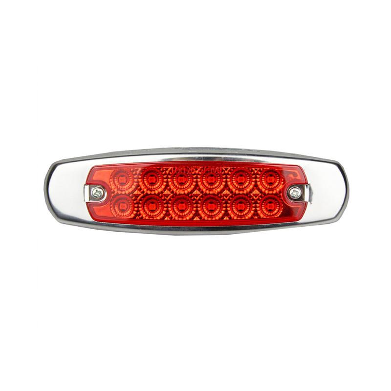 12 LED Marker Red Light W/SS Flange Red