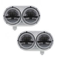 "5 3/4"" Peterbilt 359 Style Stainless 8 LED Dual Black Round Headlight Both"