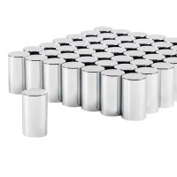 Chrome Plastic 33mm Thread On Cylinder Nut Cover 60 Pack