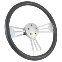 "Highway Wheels 18"" Valor Painted Steering Wheel With Chrome Spokes - Gray 5 Hole Horn Button"