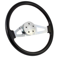 "Highway Wheels 18"" Aviator Painted Steering Wheel With Chrome Spokes - Black 5 Hole Horn Button"