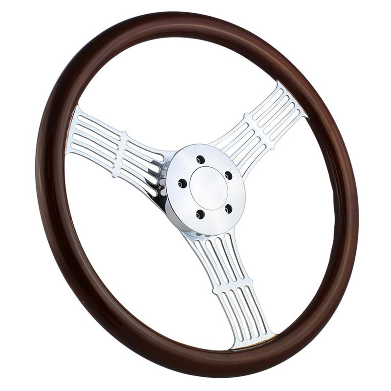 """Highway Wheels 18"""" Steering Wheel With Chrome Moonshine Spokes With Dark Wood Finish - 5 Hole Horn Button"""