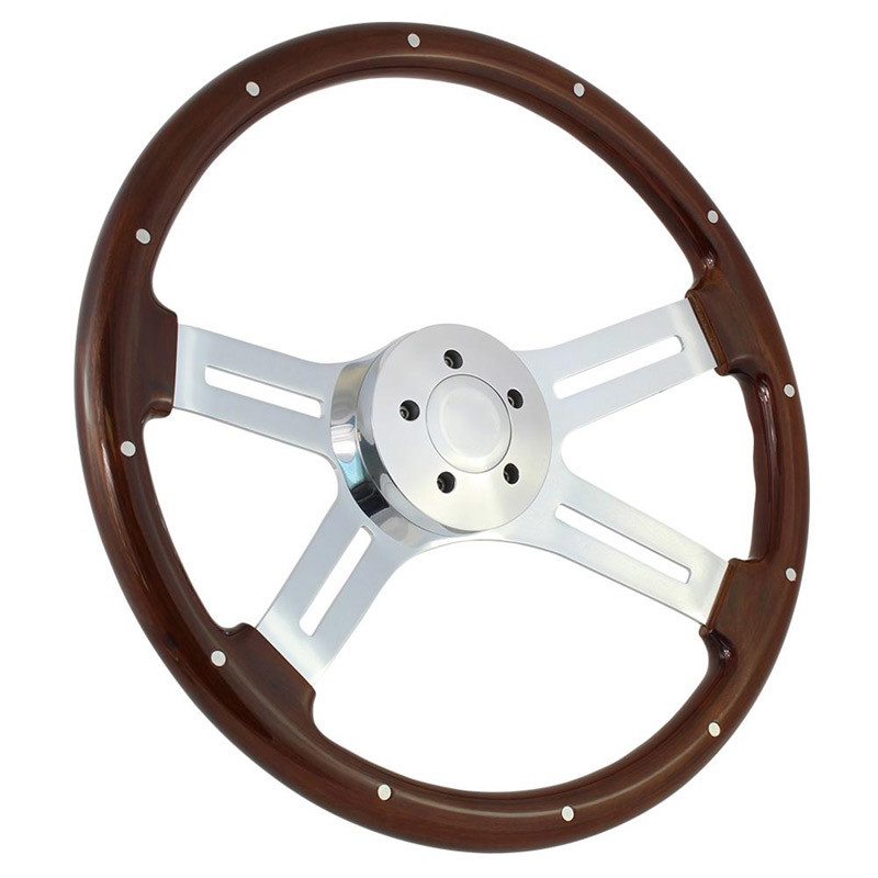 "Highway Wheels 18"" Steering Wheel With Chrome Dual Classic Spokes And Dark Wood Finish - 5 Hole Horn Button"