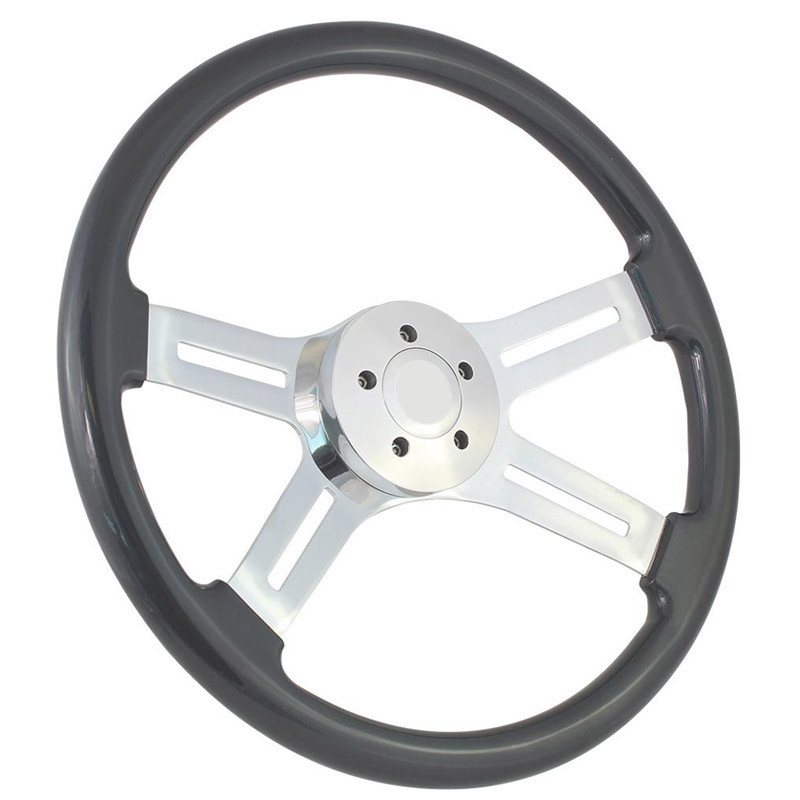 "Highway Wheels 18"" Gray Painted Steering Wheel With Chrome Dual Classic Spokes 5 Hole Button"