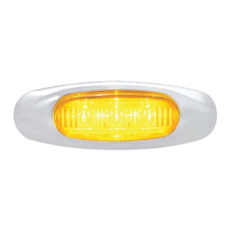 3 LED Clearance Marker Light With Chrome Bezel - Amber LED