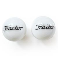 Pearl White Tractor Trailer Engraved Brake Knob