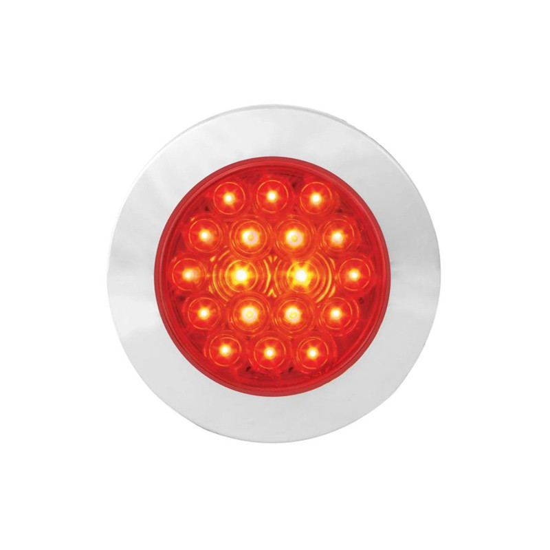 """4"""" Round Ultra Thin Fleet Series LED Light With Twist On Bezel By Grand General - Red/Red On"""
