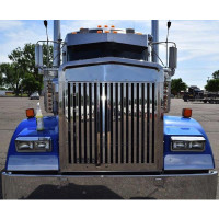 Kenworth W900L Replacement Grill Vertical Bars Extended Hood Front View