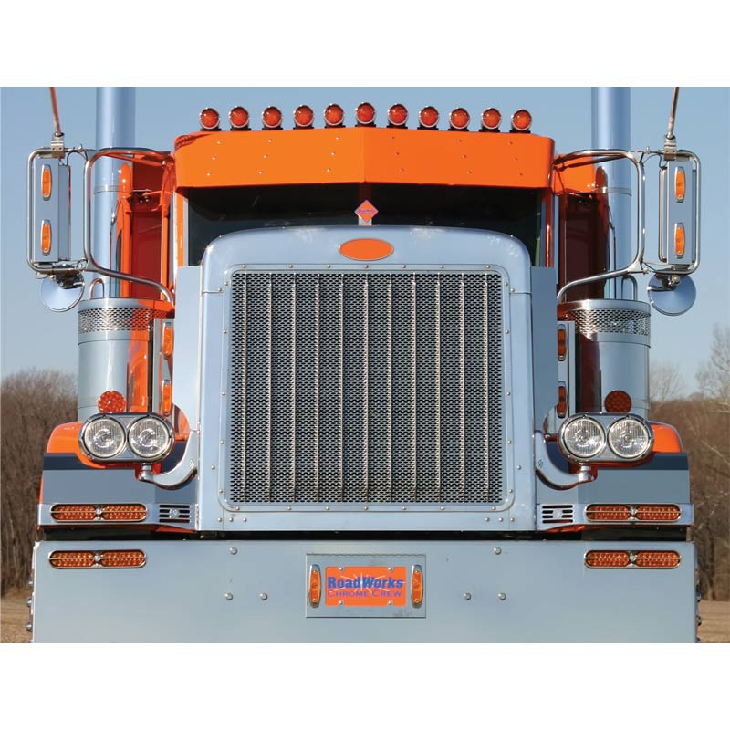 Peterbilt 379 Extended Hood Punched Grill Insert By Roadworks
