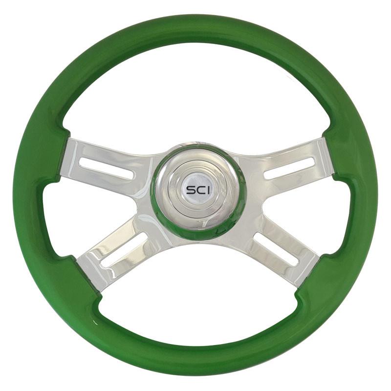 """16"""" Classic Green Wood 4 Chrome Spoke Steering Wheel"""