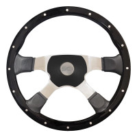 "18"" Riveted Black Wood Steering Wheel - Sport 4 Center"
