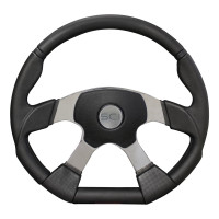 "18"" Black Polyurethane D Shape Steering Wheel - Euro Center Style"