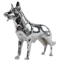 Chrome German Shepherd Hood Ornament Angled