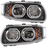 Peterbilt 388 389 367 567 Full Black LED Aftermarket Projector Headlight With Halo Ring
