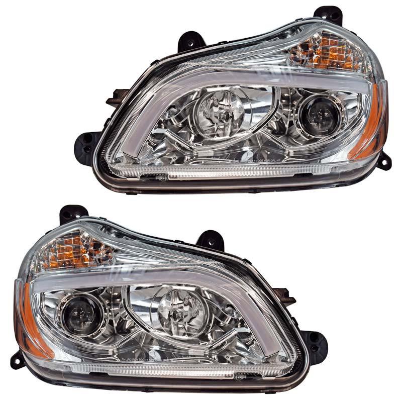 Kenworth T680 Chrome Projector Headlights - Set
