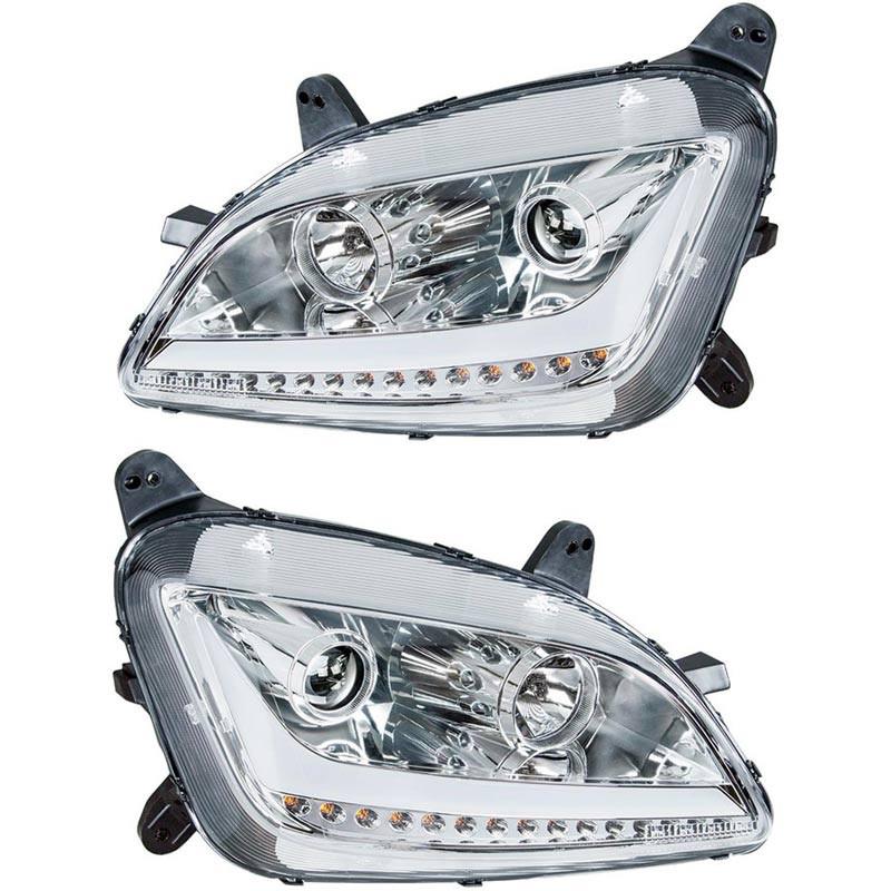 Peterbilt 579 587 Chrome Aftermarket Projector Headlights