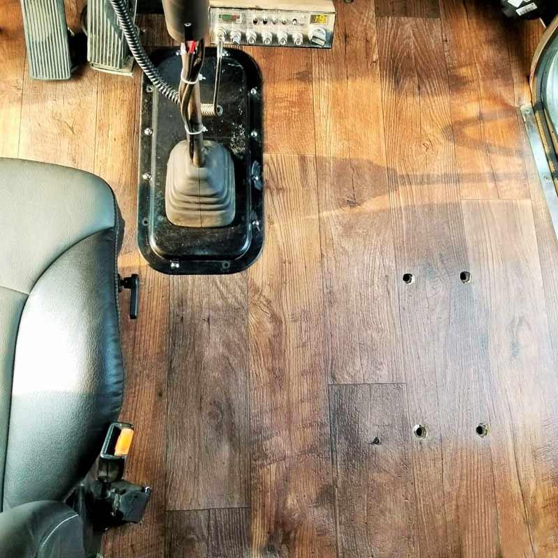 Kenworth W900B W900L T600 T800 Vinyl Wood Cab Flooring - Top View
