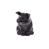 Matte Black Smiling Pig Truck Hood Ornament - Default