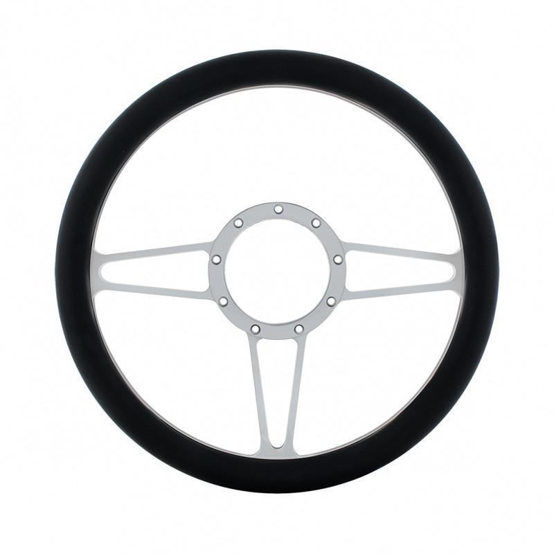 """14"""" Chrome Billet Aluminum 3 Spoke Style Steering Wheel Only"""