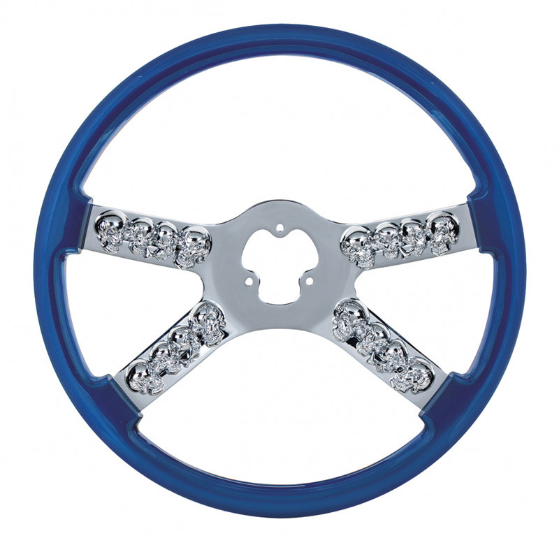 "18"" Blue Chrome Skull Spoke Steering Wheel"