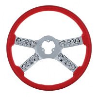"18"" Red Chrome Skull Spoke Steering Wheel"