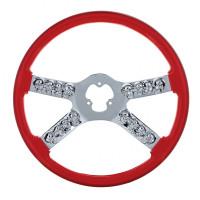 """18"""" Red Chrome Skull Spoke Steering Wheel"""