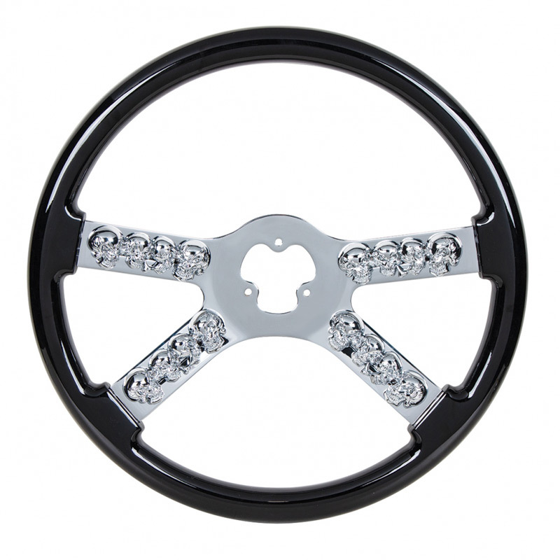 Black Chrome Skull Spoke Steering Wheel