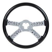 Black Chrome Skull Spoke Steering Wheel