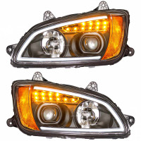 Kenworth T660 Chrome Projector Headlight LED's On