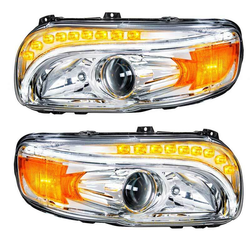 Peterbilt 388 389 367 567 Chrome Projection Headlight With LED Position  Light & Turn Signal