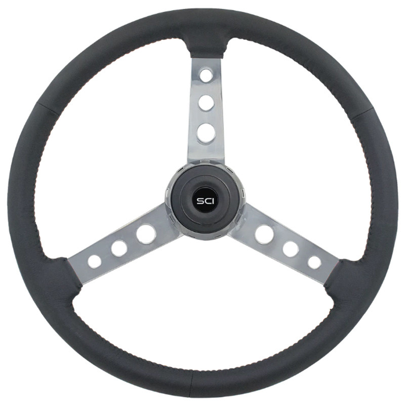 "Old School Black Leather 20"" 3 Chrome Spoke Steering Wheel"