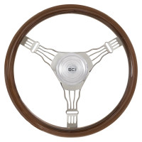 "Voltage 3 18"" Mahogany Steering Wheel 3 Chrome Wire Spoke"