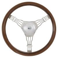 "Voltage 3 18"" Mahogany Steering Wheel 3 Chrome Wire Spoke"