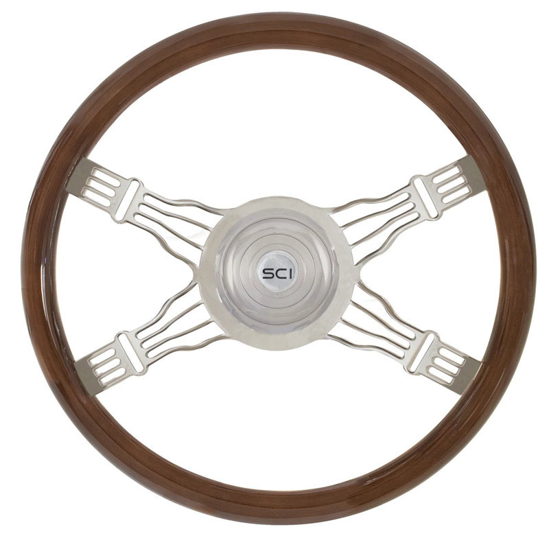 "Voltage 4 18"" Mahogany Steering Wheel 4 Chrome Wire Spoke"