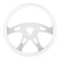 "Chrome Glacier White 18"" Steering Wheel Boss"