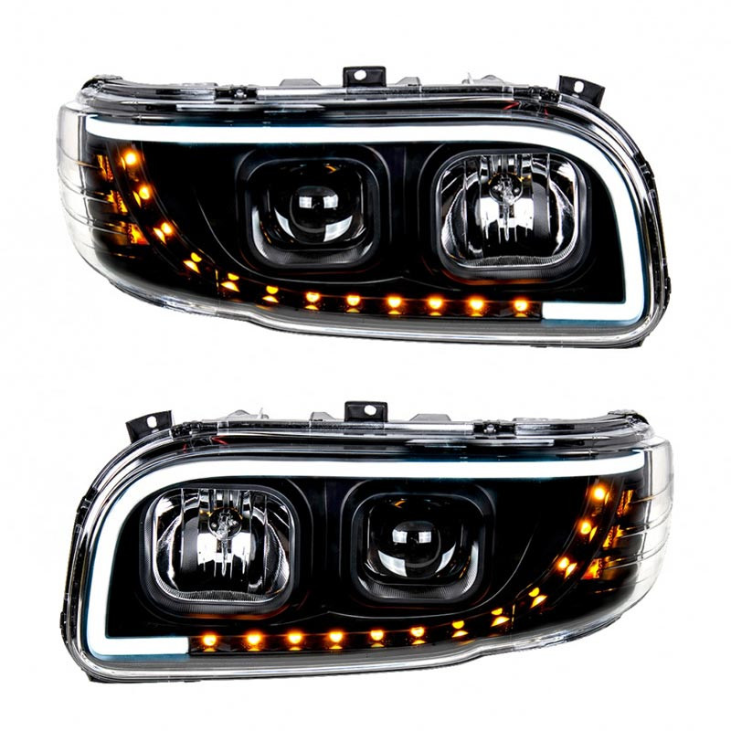 Peterbilt 388 389 Aftermarket Blackout Projection Headlight with LED Bar Both
