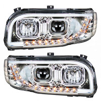 Peterbilt 388 389 Aftermarket Chrome Projection Headlight with LED Bar Front Both