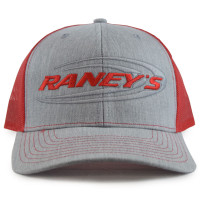 Raney's Heather Grey & Red Snapback Hat Front