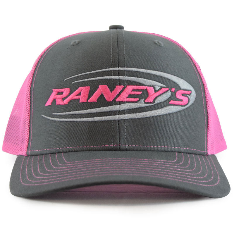 Raney's Charcoal & Neon Pink Snapback Hat Front