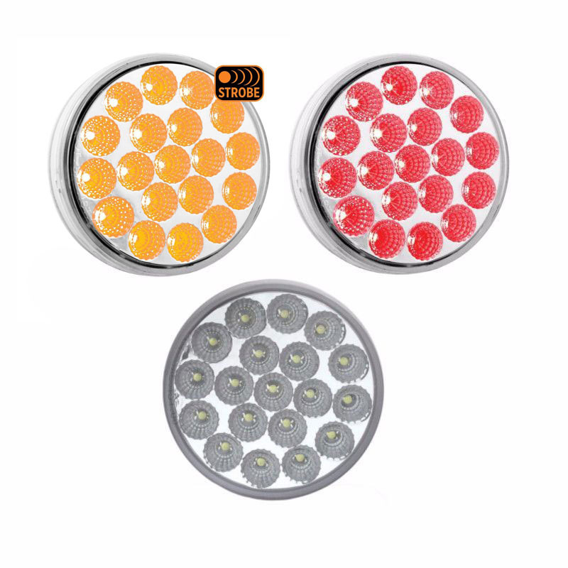 4'' Round Dual Revolution Stop Tail Turn LED Light With Amber Strobe