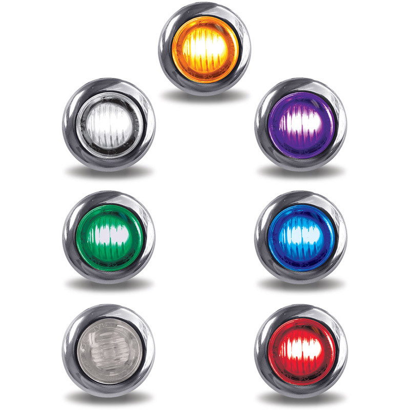 Mini Button Dual Revolution Marker Light Clear Lens All Options